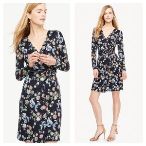 Ann Taylor Wild Flower Navy Wrap Dress